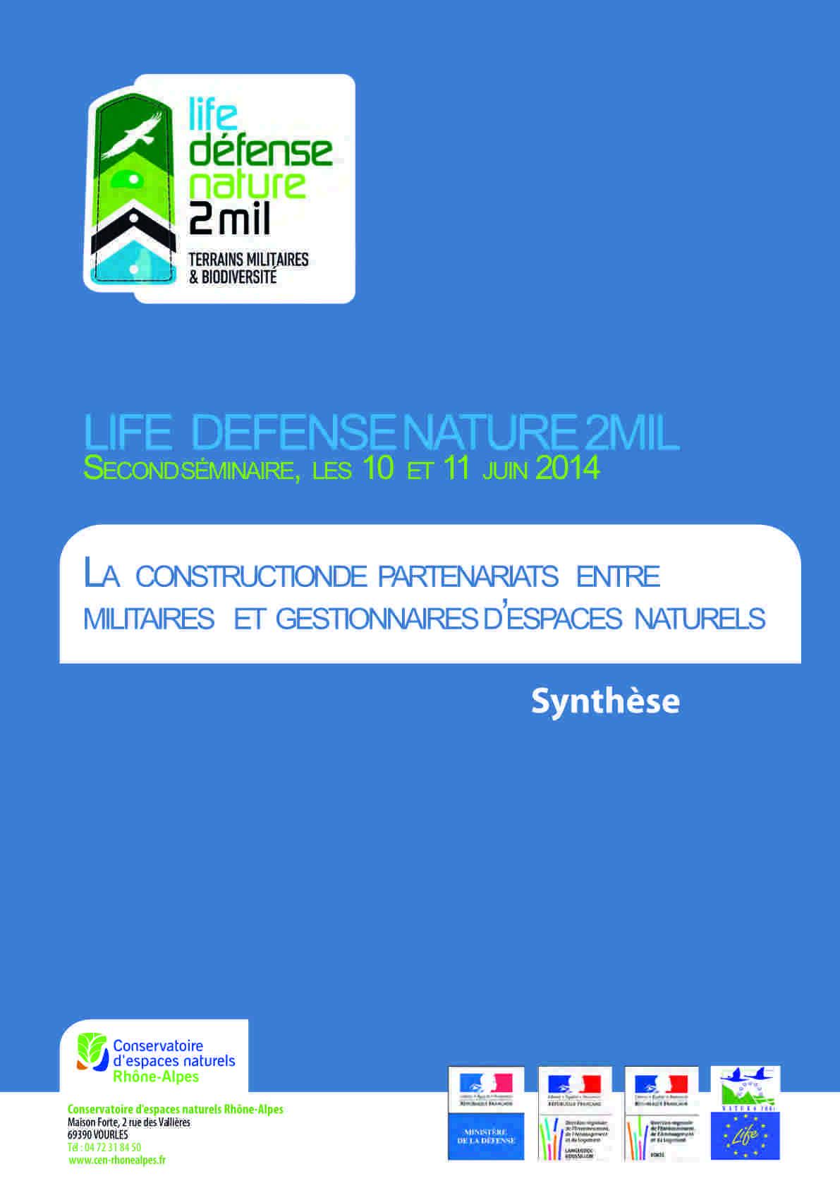 Synthèse du séminaire Life DefenseNature2Mil en 2014